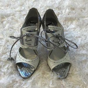 Dior snakeskin silver d'trick spectator sandals 36